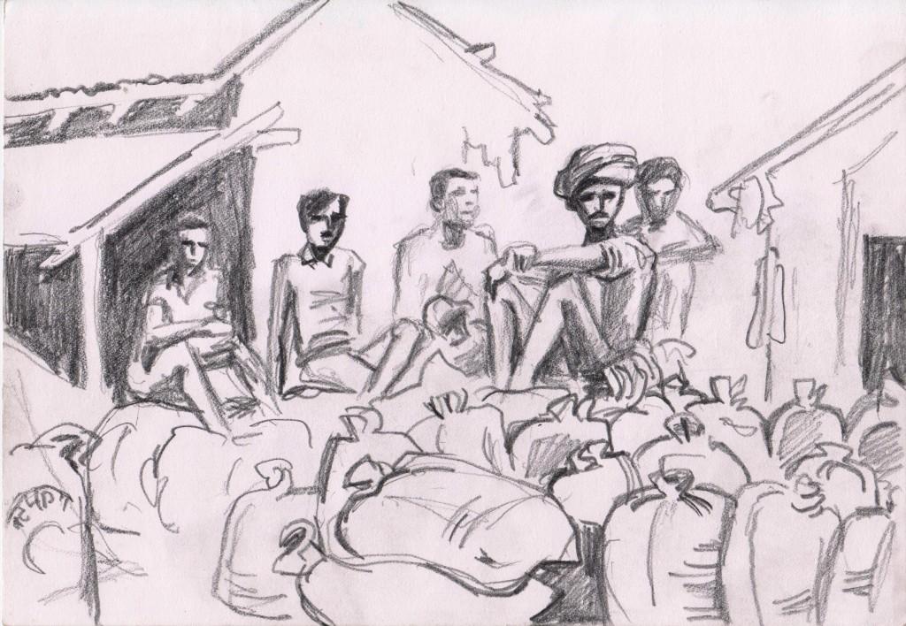 - Vendu - Ouvriers & sacs de riz-Bardiya