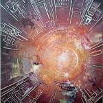 Mandala-Création de l'univers_Tech. mixtes, collage, acrylique, outils... 120x80 - / CHF 1200.-